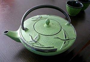 Large Japanese Cast Iron Tea Set Teapot Set 24 oz /Green Crane