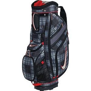 Nike Golf Sport II Cart Golf Bag, Black Tartan/Sail/Hyper Red
