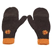 Twitten Texting Mittens, Embroidered Brown/Gold/Rust, S/M