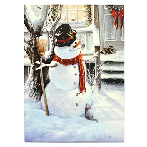 "Raz Imports 39744 - 24"" X 18"" X 1"" - ""Snowman"" Battery Operated Led Lighted Canvas (Batteries Not Included)"