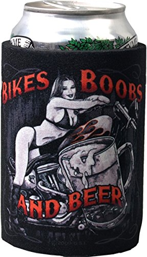 Hot Leathers BIKES BOOBS BEER Cold Drink Can Koozie