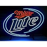 LDGJ Miller Lite Real Glass Neon Light Sign Home Beer Bar Pub Recreation Room Game Lights Windows Garage Wall Signs