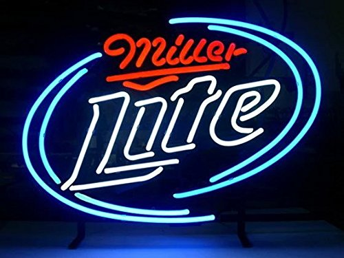 LDGJ Miller Lite Real Glass Neon Light Sign Home Beer Bar Pub Recreation Room Game Lights Windows Garage Wall Signs