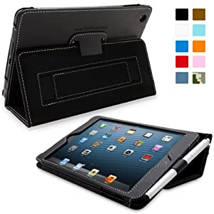 Snugg iPad Mini Leather Case Cover and Flip Stand with Elastic Hand Strap and Premium Nubuck Fibre Interior (Black) – Automatically Wakes and Puts the iPad Mini to Sleep
