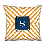 Dabney Lee Chevron Square pillow with Single Initial, O, Multicolored