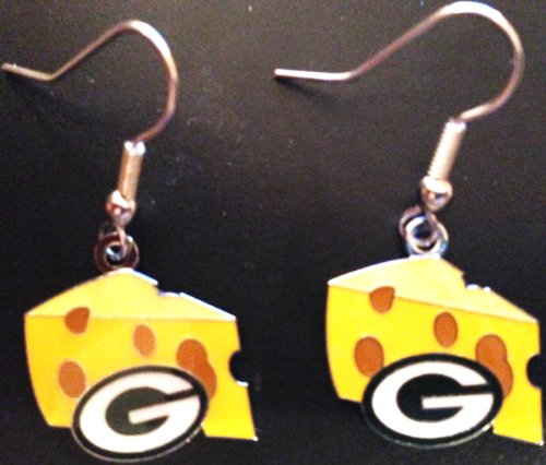 Green Bay Packers NFL Cheese Head Dangle Earrings (Packer Cheese Heads compare prices)