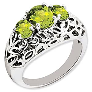 Sterling Silver Peridot Ring. Gem Wt- 1.3ct. Metal Wt- 6.06g