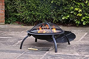 Gardeco Lucio Portable Fire Bowl/Firepit with BBQ Grill and Carry Bag