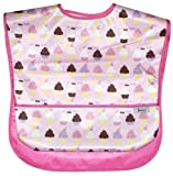 Toddler Size Waterproof Bib w/Flip Pocket, 2 Pack, Ice Cream + Solid Pink