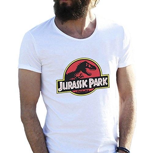 Jurassic Park Dino Logo Bianca T-shirt maglietta per uomo Medium