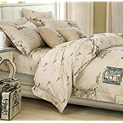 French Country Cottage Style Duvet Cover Bedding Set Novelty Drawing 100% Vintage Script Farmhouse Story Tan Ivory Multicolor Reversible Pattern (Queen)