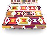 Kess InHouse Pellerina Design Aztec Weave Orange Purple Queen Cotton Duvet Cover, 88 by 88-Inch