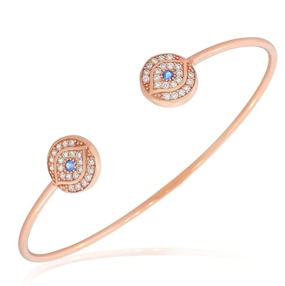 Sterling Silver Rose Gold-Tone White Blue Crystals CZ Protection Evil Eye Open End Bangle Bracelet -- $24.99 + $1.98 shipping