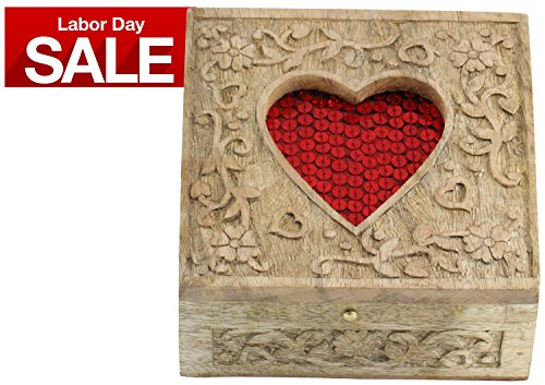 Labor Day Sale - Red Heart Decorative Precious Jewelry Box - Wooden Carved Retro Handmade Ornate Keepsake Storage Chest - Rings / Necklace / Earring / Bangle Box for Girls and Women