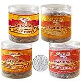Chocholik Dry Fruits - Almonds Lemon Pepper, Tandoori Masala, Tangy Tomato & Mexican Salsa With 5gm Pure Silver...