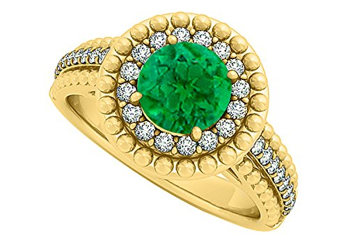 Emerald And CZ Halo Engagement Ring In Yellow Gold Plated Vermeil With Interesting Design And Fab Price