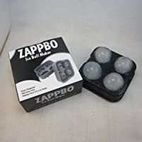 Zappbo® - 4 Huge Perfect Ice Balls Value For Money Best Silicone Ice Sphere Maker and Ice Ball Mold for Cocktail,Bourbon,Block,Bottle,Bullets,Candle,Diamond,Punch,Bowl,Scotch,Fred,Guitar,Gun,Luge,Plane,Plastic,Rectangle,Ring,Shot,Skull,Square,Trek,Wars,S