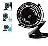 E-joy® 360 Degree Rotatable Clip-On Fan USB Powered Table Fan Desktop Fan Electronic Cooling fan (Model 1)