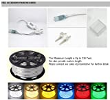 CBConcept® 120VSMD5050-2M-CW 6.6 Feet Cool White 120 Volt High Output LED SMD5050 Flexible Flat LED Strip Rope Light - [Christmas Lighting Indoor / Outdoor rope lighting Ceiling Light kitchen Lighting] [Dimmable] [Ready to use] [7/16 Inch Width X 5/16 Inch Thickness]