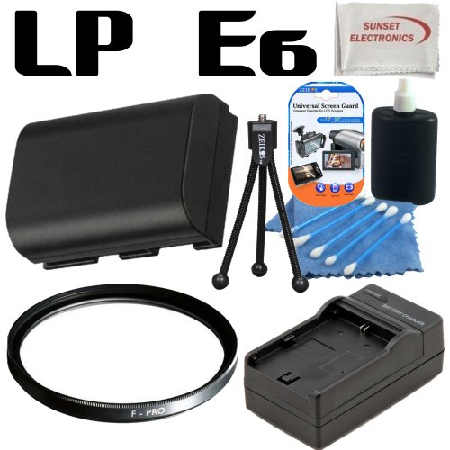 Canon LP-E6 - LPE6 - Replacement - Lithium Ion - High Capacity Battery Pack - For the Canon EOS 60D, 7D, 5D Mark II Digital SLR Cameras; Also Includes Rapid AC/DC Travel Charger, 58mm Multicoated Protective UV Filter and more....