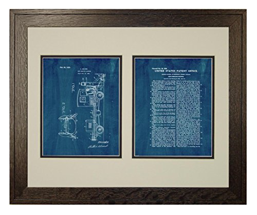 Snow-removing Machine Patent Art Midnight Blue Print in a Rustic Oak Wood Frame with a Double Mat (20