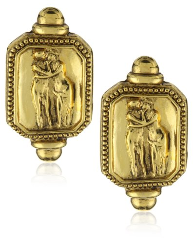 Antiquities Couture Gold-Tone Psyche Adoration Octagon Clip Earrings