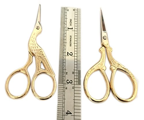 TWO High Quality 3.5 Inch Gold Plated Stainless Steel Scissors for Embroidery, Sewing, Craft, Art Work & Everyday Use - Ideal as a Gift 3