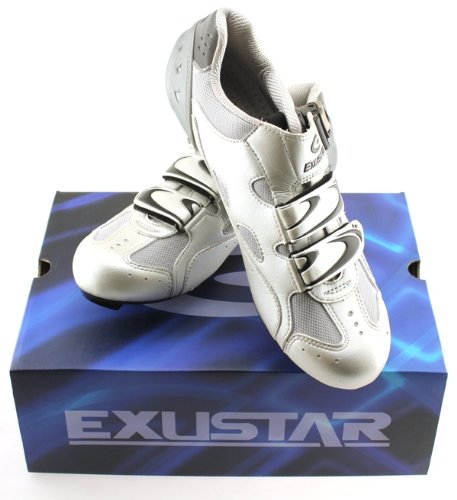EXUSTAR E-SR221 Road Bike Cycling Shoes Carbon Fiber Sole SZ 43 9.5 - 10 US