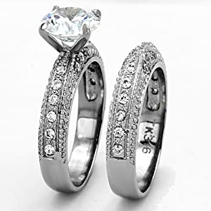 Wedding Ring Set Stainless Steel Round Shape Cubic Zirconia 2.0 Ct Women size 5-10 SPJ from FlameReflection