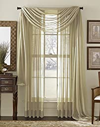 LuxuryDiscounts Beautiful Elegant Solid Taupe Sheer Scarf Valance Topper 37\
