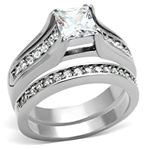 Stainless Steel Princess Cubic Zirconia CZ Wedding Engagement Ring & Band His Hers Bridal Sets TKJ by Cherish Loves