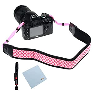 GTMax Pink Soft Classic Camera Neck Strap + Lens Pen + Cleaning Cloth for Canon Nikon Sony Fuji Olympus Panasonic Pentax and GE Power Pro X500 X550 SLR Cameras