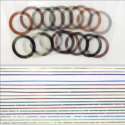ラインアートテープ18色セット ラインネイルシール ストライプテープ ネイルアート用 ラインテープ