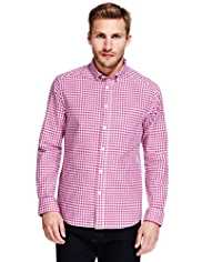 2in Longer Pure Cotton Gingham Checked Oxford Shirt