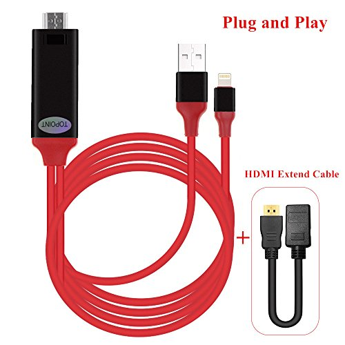 Lightning to HDMI Adapter, Topoint Lightning Digital AV to HDMI 1080P Cable Adaptor Connector for iPhone 7 7 Plus 6s 6s Plus 6 6 Plus 5 5c 5s SE, iPad Air/Mini/Pro, iPod Touch 5th/6th (plug and play) (Lightning Digital compare prices)