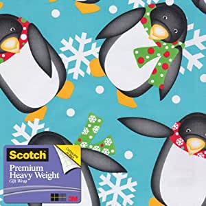 Scotch  Gift Wrap, Penguin Flurry Pattern, 25-Square Feet, 30-Inch x 10-Feet (AM-WPPF-12)