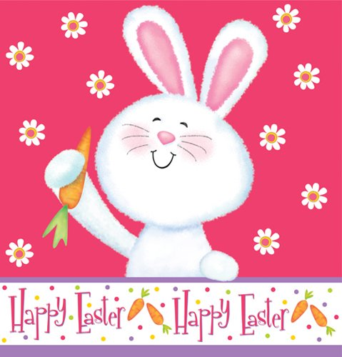 "Happy Bunny Plastic Tablecover - 54"" x 108"""