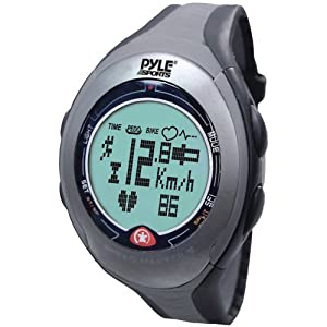 Pyle Sports PPDM2 Digital Biking/ Running Watch with Bicycle Adaptor, Pulse, Chronograph, Pedometer