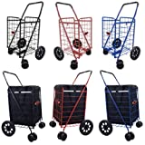 Folding Shopping Cart SWIVEL Wheel Jumbo Black 360 Easy Rotation WITH FREE LINER & CARGO NET by SCF
