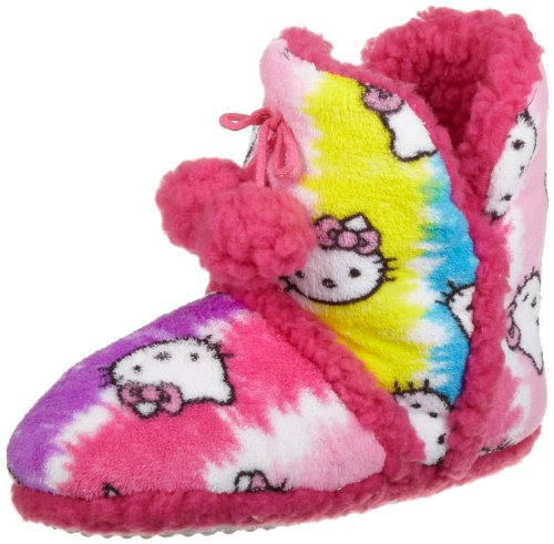 Hello Kitty Junior's Superplush Bootie with Pom Pom and Sherpa, Tie Dye Pink, Large