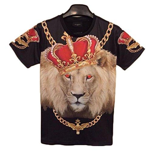 Tm Retro Hip Hop Crown Lion Print 3D Casual Tee Shirt Short Sleeve Men T-Shirt