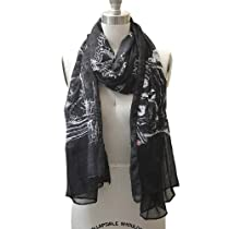 Light Weight Night Owl Pattern Fashion Scarf Black Color