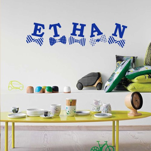 Wall Decal Decor Decals Sticker Art Vnyl Personalized Name Monogram Lettering Sign Nursery Kids Ethan Bedroom Living Room (M1210) front-640457