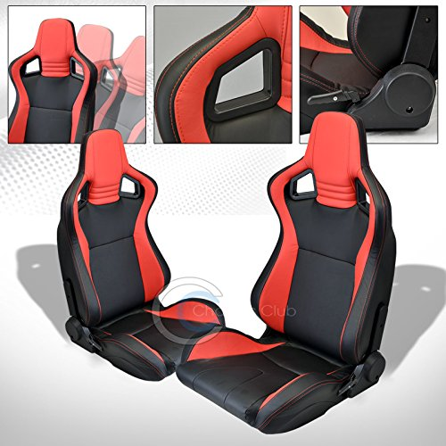 HS Power 2X UNIVERSAL MU BLACK/RED PVC LEATHER w/STITCHES RACING BUCKET SEATS+SLIDERS C01 (Camaro Ss Racing Seats compare prices)