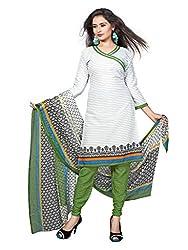 Krishna Present All New Design Of White color Cotton Printed Dress, Salwar Ka...