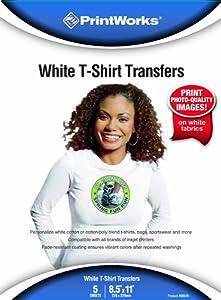 Printworks White T-Shirt Transfers, Inkjet, 8.5 x 11 Inch, 5 Sheets (00549)