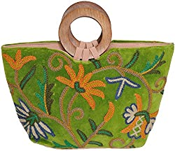Exotic India Fluorite-Green Handbag from Kashmir with Ari-Embroidery - Green