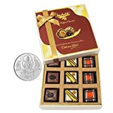 Chocholik Belgium Chocolates - 9pc Divine Assorted Treat To Your Friend With 5gm Pure Silver Coin - Diwali Gifts