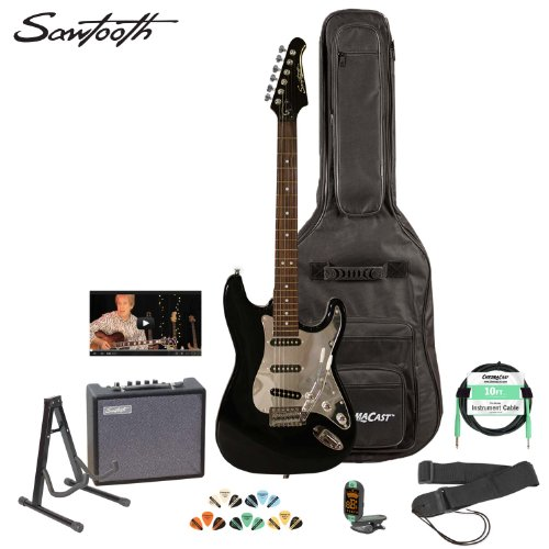 Sawtooth St-Es-Bkc-Kit-3 Black Electric Guitar With Chrome Pickguard - Includes Accessories, Amp, Gig Bag And Online Lesson