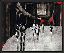 33in x 29in City Scene I by Elena Radzetska - Black Floater Framed Canvas w/ BRUSHSTROKES